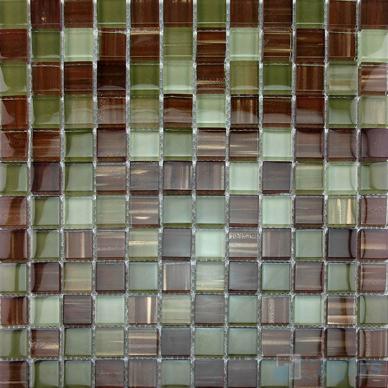 Sea Brown 23x23mm Hand Painted Glass Mosaic VG-HPB90