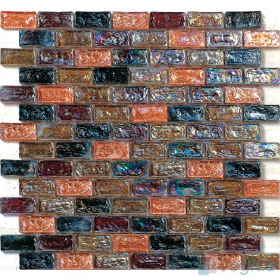 Sea Brown Subway Glazed Iridium Glass Mosaic Tile VG-RDP94