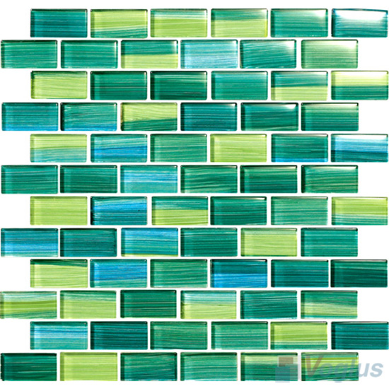 Sea Green 1x2 Subway Hand Painted Glass Tile VG-HPD95