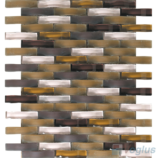 Sepia Arch Wavy Glass Mosaic Tiles VG-UWY95