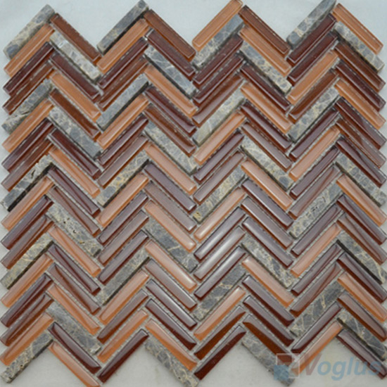 Sienna Herringbone Glass Mosaic Tile with Stone VG-UHB95