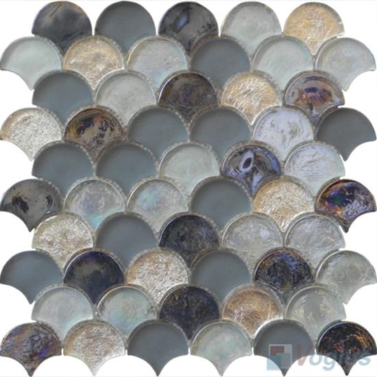 Silver Fan Shape Fish Scale Glass Tiles VG-UFN96
