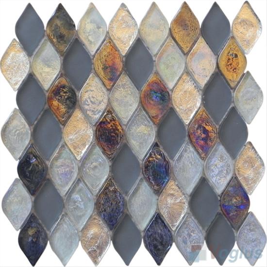 Silver Flame Shape Lantern Glass Mosaic Tile VG-UFM96