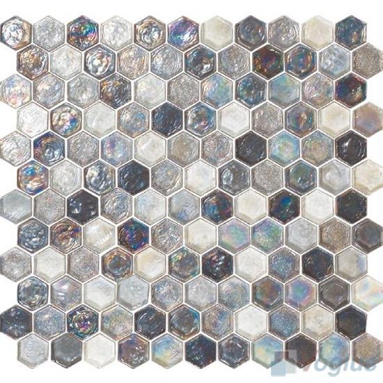 Silver Glazed Hexagonal Glass Mosaic Tiles VG-UHX96