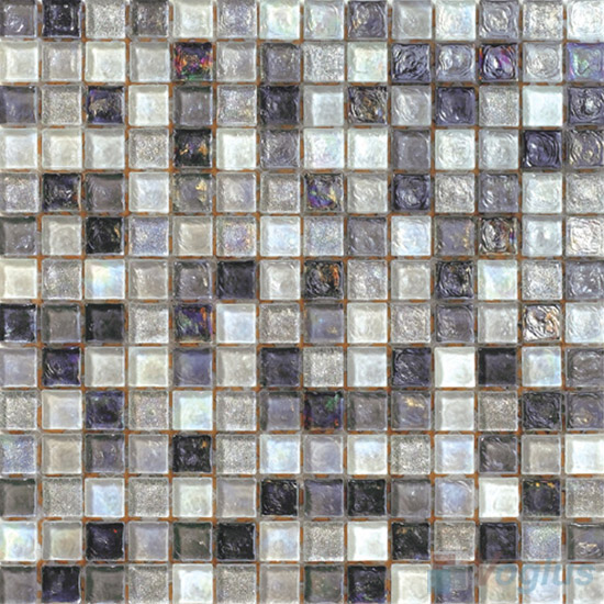 Silver Glazed Iridescent Glass Mosaic VG-RDF92