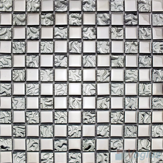 Silver Rough Metal Plated Glass Mosaic Tile VG-PTB97