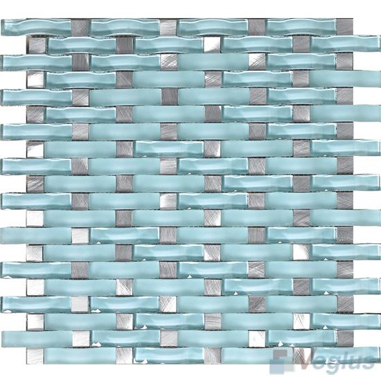 Sky Blue Arch Wavy Glass Mosaic Tiles VG-UWY89