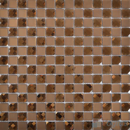 Tan 20x20mm Jewel Mirror Glass Mosaic Tile VG-MRF97