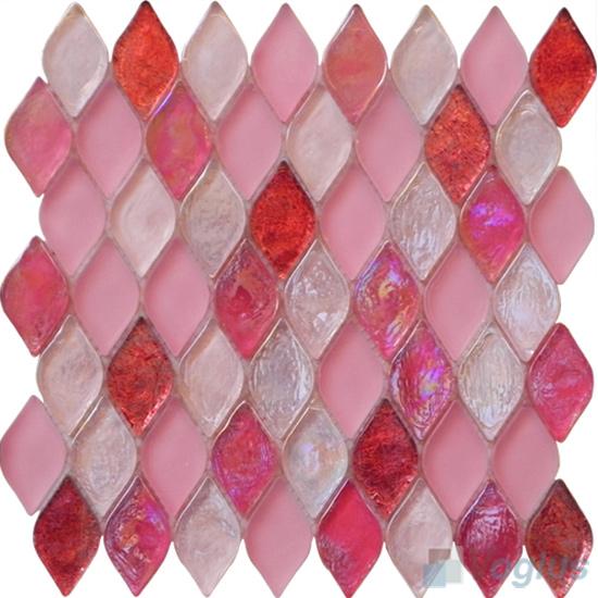 Thulian Pink Flame Shape Lantern Glass Mosaic Tile VG-UFM95