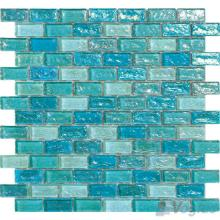 Aqua Subway Glazed Iridium Glass Mosaic Tile VG-RDP90