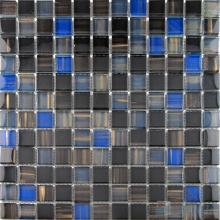 Black 23x23mm Hand Painted Glass Mosaic VG-HPB91