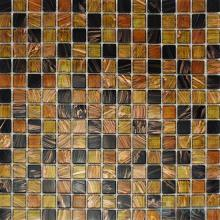 Copper 20x20mm Gold Line Glass Mosaic VG-GLF97
