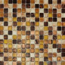 Copper 20x20mm Gold Line Glass Mosaic VG-GLF99