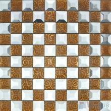 Copper White Trapezia Mirror Glass Mosaic VG-MRB94