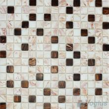 Cream 20x20mm Gold Line Glass Mosaic VG-GLF98