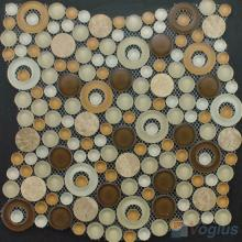 Cream Brown Pebble Bubble Glass Mosaic Tile VG-UPB89