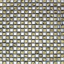Drab 15x15mm Rough Metal Plated Glass Mosaic VG-PTA98