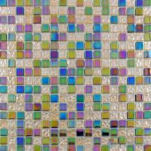 Iridium Linen 15x15mm Rough Metal Plated Glass Mosaic VG-PTA95