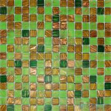 Lawn Green 20x20mm Gold Line Glass Mosaic VG-GLF93