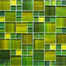 Lime Magic Cube Hand Painted Glass Mosaic Tiles VG-HPM97