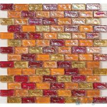 Orange-Red Subway Glazed Iridium Glass Mosaic Tile VG-RDP97