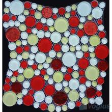 Red Mixed Pebble Bubble Glass Mosaic Tile VG-UPB96