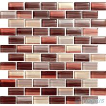Rosewood 1x2 Subway Hand Painted Glass Tile VG-HPD96