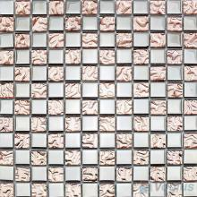 Rosy Rough Metal Plated Glass Mosaic Tile VG-PTB99