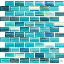 Teal 1x2 Subway Hand Painted Glass Tile VG-HPD98