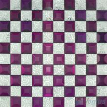 Tyrian Purple Trapezia Mirror Glass Mosaic VG-MRB96