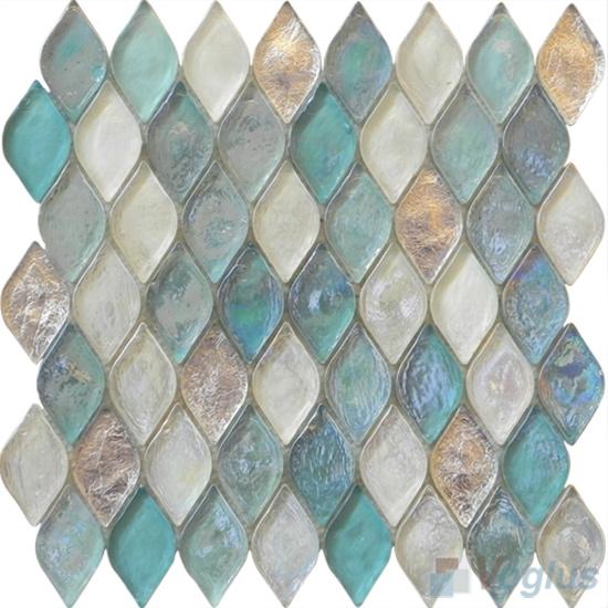 Tiffany Blue Flame Shape Lantern Glass Mosaic Tile VG-UFM92