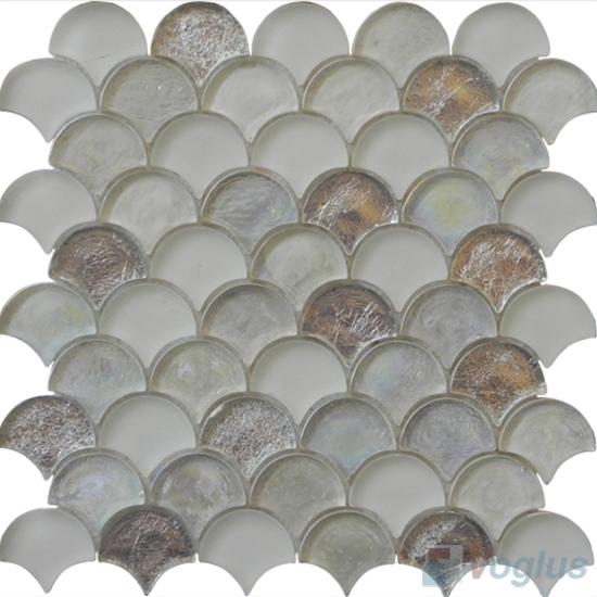 Timberwolf Fan Shape Fish Scale Glass Tiles VG-UFN89