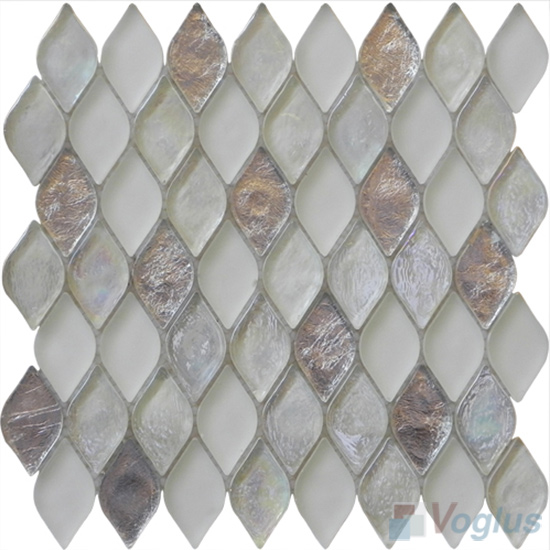 Timberwolf Flame Shape Lantern Glass Mosaic Tile VG-UFM89