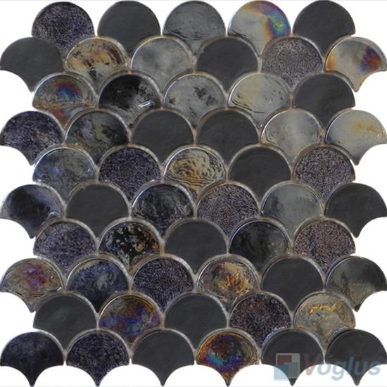 Titanium Fan Shape Fish Scale Glass Tiles VG-UFN88