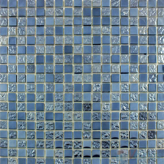 Titanium Silver 15x15mm Rough Metal Plated Glass Mosaic VG-PTA94
