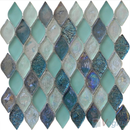 Turquoise Flame Shape Lantern Glass Mosaic Tile VG-UFM99