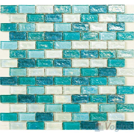 Turquoise Subway Glazed Iridium Glass Mosaic Tile VG-RDP92