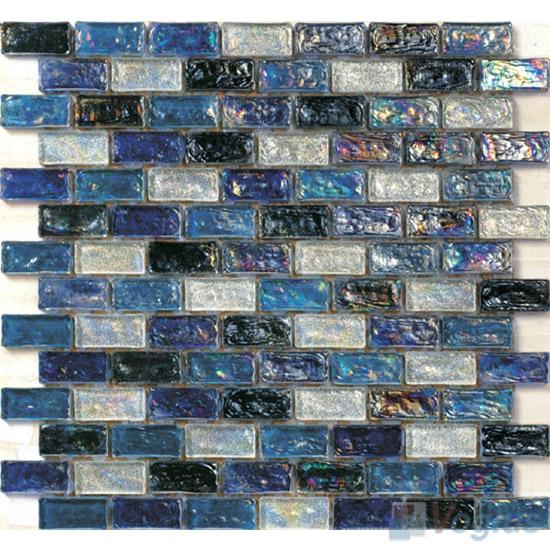 UCLA Blue Subway Glazed Iridium Glass Mosaic Tile VG-RDP95