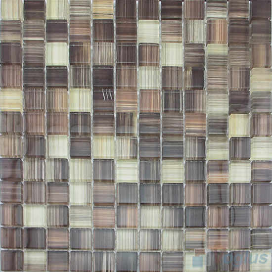 Wenge 23x23mm Hand Painted Glass Mosaic VG-HPB95