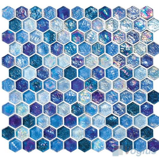 Yale Blue Glazed Hexagonal Glass Mosaic Tiles VG-UHX98