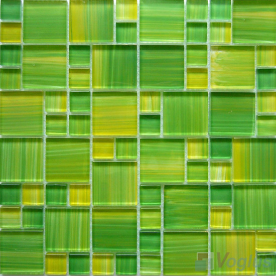 Yellow-Green Magic Cube Hand Painted Glass Mosaic Tiles VG-HPM94