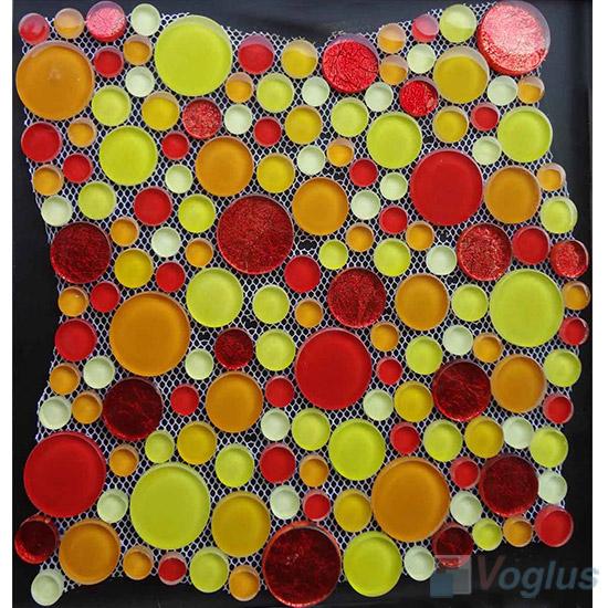 Yellow Mixed Pebble Bubble Glass Mosaic Tile VG-UPB94