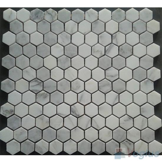 Ariston White Polished Small Hexagon Marble Mosaic VS-PHX92
