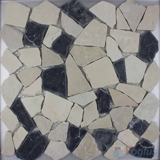 Beige Black River Rock Stone Mosaic VS-PRR95