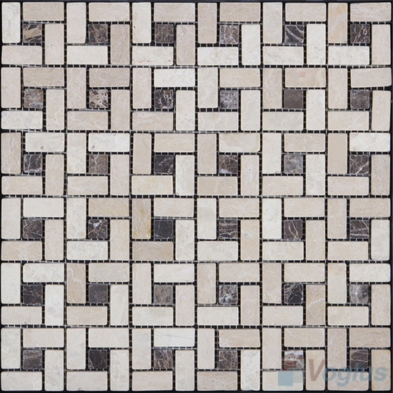 Beige Honed Pinwheel Marble Mosaic Tiles VS-PPW98