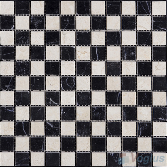 Black Beige Mixed 1x1 Polished Stone Mosaic VS-SBB99