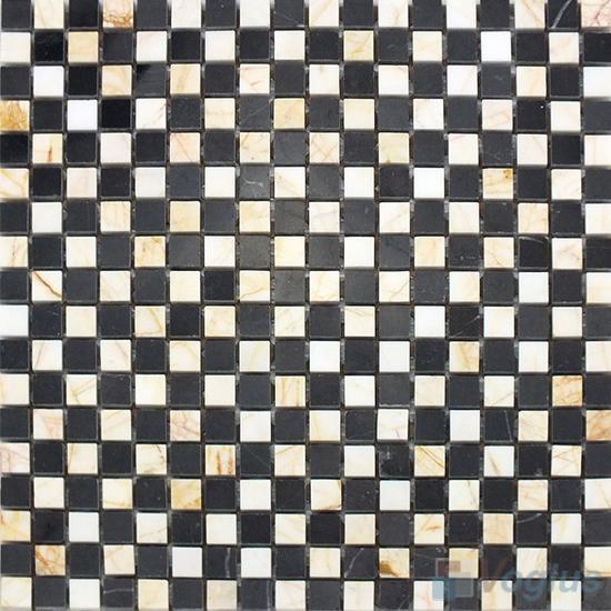 Black Beige Polished 15x15mm Checkerboard Marble Mosaic VS-SAB99