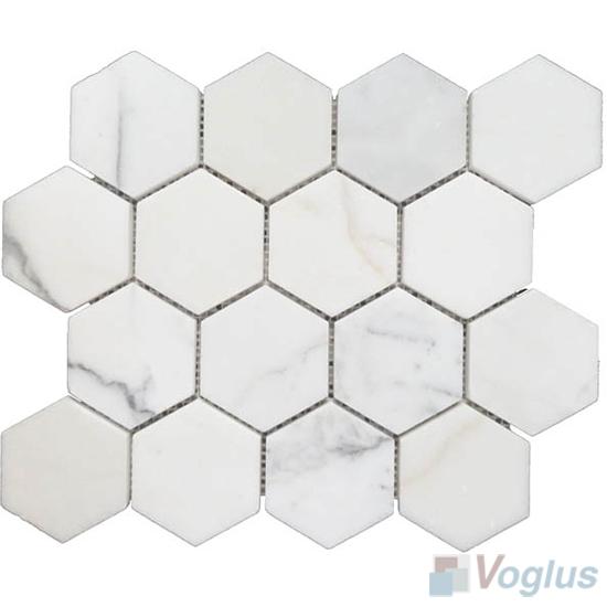 Calacatta Polished Large Hexagon Marble Mosaic VS-PHX98