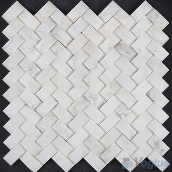Camber Carrara White Polished Herringbone Marble Mosaic VS-PHB98