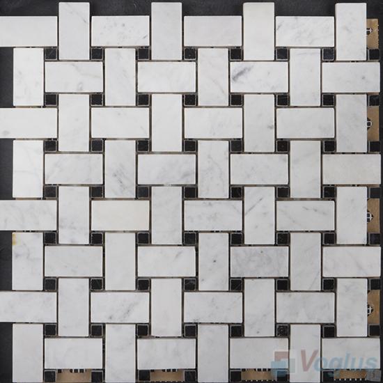 Carrara White Polished Basket Weave Stone Mosaic VS-PBW99